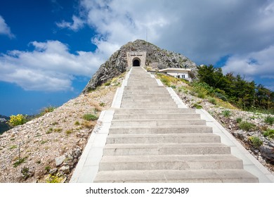 Beautiful landscape of stairs and tunnel in mountain of Lovcen