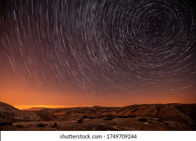 Beautiful landscape of the starry night sky, magical stars, amazing desertic mountains, Lebanon