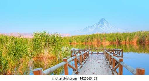 Beautiful landscape and Sultanmarshes (bird paradise) next to erciyes mountain - Kayseri, Turkey