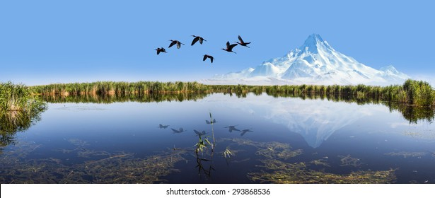 Beautiful landscape and Sultanmarshes (bird paradise) next to erciyes mountain, Kayseri