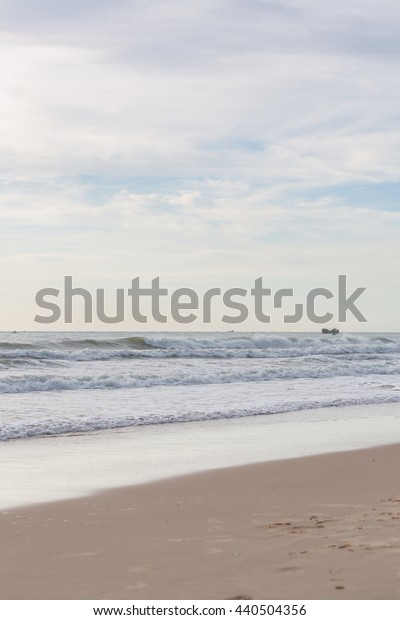 beautiful landscape summer sea with sand beach, nature background