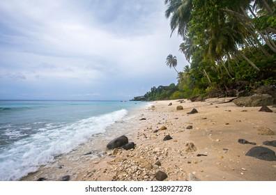 Beautiful landscape of Sumur Tiga beach in Sabang, Weh Island, Aceh, Indonesia.