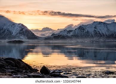 Beautiful landscape at sunrise from Lofoten, Norway