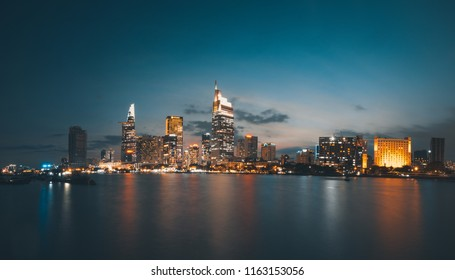 Beautiful landscape sunset of Ho Chi Minh city or Sai Gon. Royalty high quality free stock image of Ho Chi Minh City with development buildings. Ho Chi Minh city is the biggest city in Vietnam