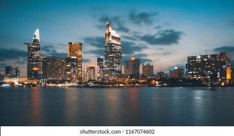Beautiful landscape sunset of Ho Chi Minh city or Sai Gon, Vietnam. Royalty high-quality free stock image of Ho Chi Minh City with skyscraper buildings. Ho Chi Minh city is the biggest city in Vietnam