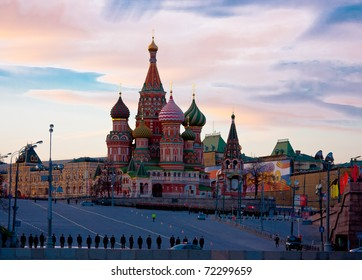 beautiful landscape at sunset with a kind on a cathedral on the Red area, city Moscow, Russia