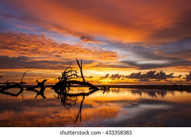 beautiful landscape with sunset over sea