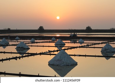Beautiful landscape of a sunset with a salt farm in Tainan, Taiwan