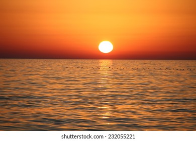 Beautiful landscape with sunset and sea