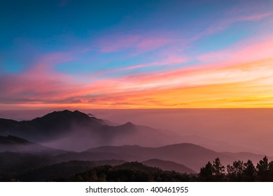 The beautiful Landscape in sunset time at Doi Inthanon National Park, Chiang Mai, Thailand.
