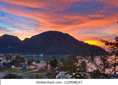 Beautiful landscape sunset view of Tropical island with resorts - Phi-Phi island, Krabi Province, Thailand . Phi Phi island is popular island in Thailand