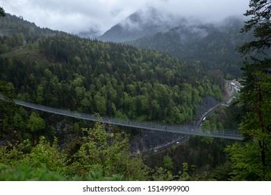 Beautiful landscape at suspension Bridge highline179 near Burgenwelt Ehrenberg at Reutte between 2 hills.