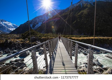 Beautiful of Landscape  Suspension Bridge  track over Hooker River, Mount Cook National Park, Canterbury, South Island, New Zealand