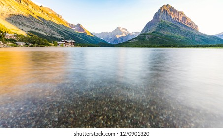 beautiful landscape at Swiftcurrent Lake  when sunrise in Many Glacier area ,Montana's Glacier National Park,Montana,usa.