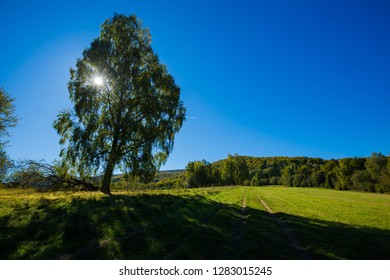 Beautiful landscape taken in Bieszczady mountains. Green autumnal landscpape