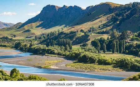 Beautiful landscape of Te Mata Peak and Tukituki river in Hawke's bay region of New Zealand.