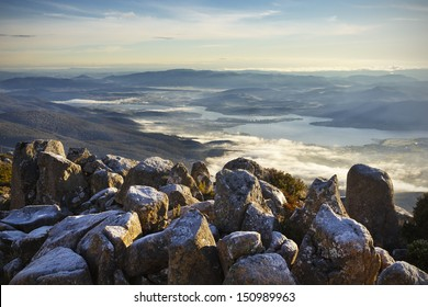 Beautiful landscape from top of Mt Wellington, close Hobart, in Tasmania.