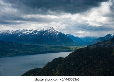 Beautiful landscape top viewpoint of Interlaken from Harder Kulm, Switzerland