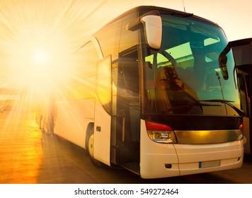Beautiful Landscape Tourist Bus Travel Transport Background