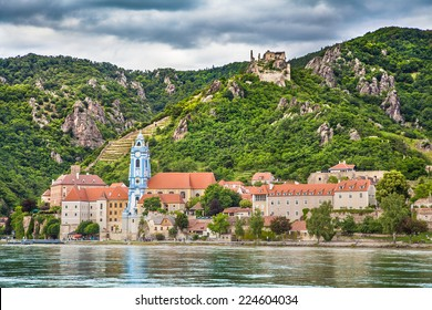 Beautiful landscape with the town of Durnstein and Danube river in the Wachau valley, Lower Austria