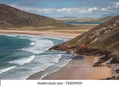 Beautiful landscape of Tranarossan Bay, Donegal, Ireland. Journey on the Wild Atlantic Way coastal route