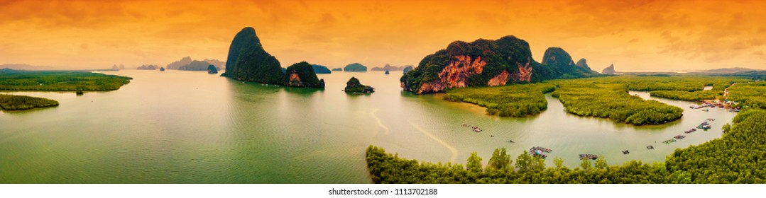 Beautiful landscape, tropical islands near the island Phuket in Thailand, a panorama, shooting from air