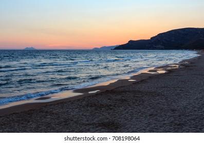 Beautiful landscape with tropical sea sunset on the beach (Gaeta, Latina, Italy).