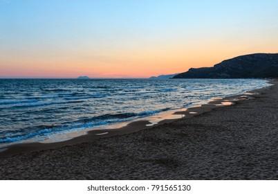 Beautiful landscape with tropical sea sunset on the beach (Gaeta, Latina, Italy)