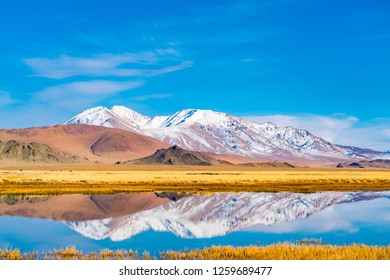 Beautiful landscape of Ulgii in western Mongolia with the river, the large yellow steppe and the beautiful mountain