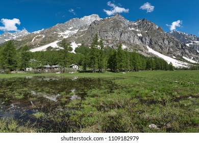beautiful landscape of Val Ferret in spring season with lake, little village, larches and mountains Grandes Jorasses in background, Italy