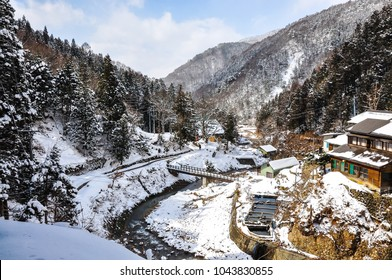 "Beautiful landscape of a valley covered in snow at Yamanouchi in Nagano, Japan where the famous 'Jigokudani Monkey Park' is located. Jigokudani means ""hell valley""."