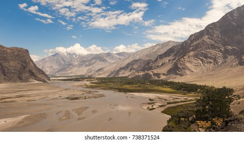 Beautiful landscape of valley with the river in big himalaya mountain range on the way to K2 base camp,Skardu,Gilgit,Pakistan