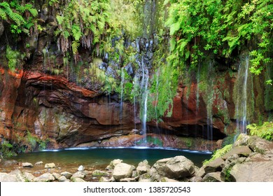 Beautiful landscape view of the 25 Fontes falls, a cascade waterfall at the end of a levada hike on the island Madeira