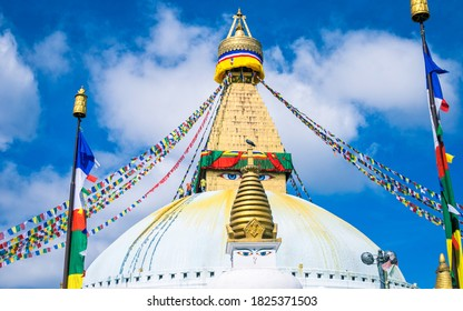 beautiful landscape view of Buddhist temple Bouddhanath Stupa at Kathmandu, Nepal.