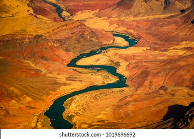 Beautiful landscape view of curved colorado river in Grand canyon, Arizona, USA