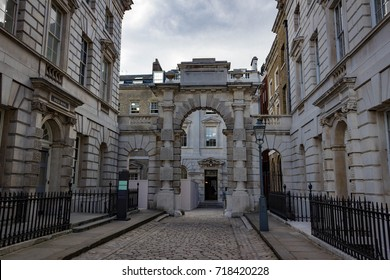 Beautiful landscape view of a deserted section of Somerset House in London England.