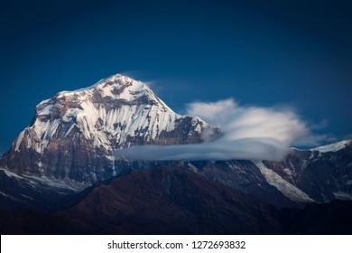 Beautiful landscape view with Dhaulagiri peak from Poon Hill. Himalaya Mountain, Nepal.