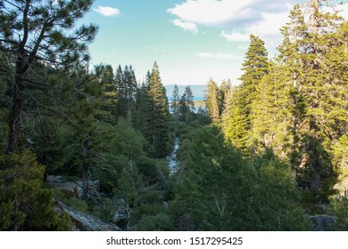 Beautiful landscape view of the Eagle Creek with Lake Tahoe in background, Tahoe, California