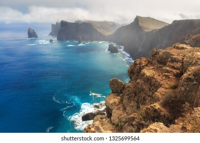 Beautiful landscape view of the east coast of the island Madeira at Ponta de Sao Lourenco nature reserve