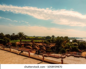 A beautiful Landscape view for farm fields near kom ombo temple and country houses resturants & shops in Aswan, Egypt