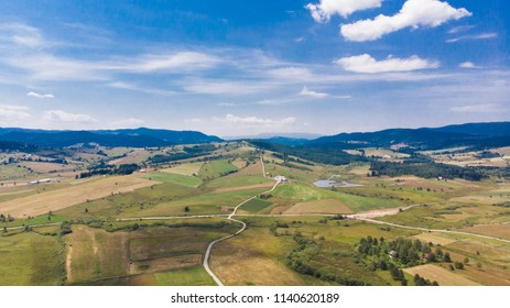 beautiful landscape view of fields and hills