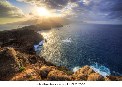 Beautiful landscape view of the island Madeira at sunset from Ponta do Rosto at the Ponta do Sao Lourenco nature reserve