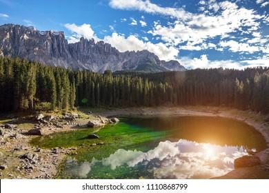 beautiful landscape - view of Lago di Carezza Dolomites Italy