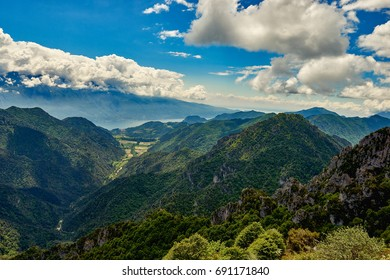 Beautiful landscape. View of Lake Garda from tremalzo pass ,Italy. Popular destinations for travel in Europe. Italian Dolomites-panoramic views from the Tremalzo mountains