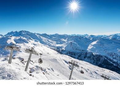 beautiful landscape view of Meribel ski resort in Alps, France