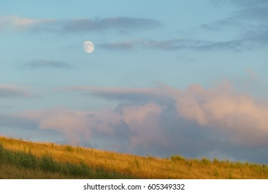Beautiful landscape with a view of the moon