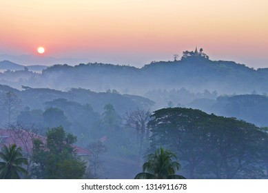Beautiful  landscape view , Morning sunrise and  mountain view with  fog  ,Mrak-U  Rakhine State ,Myanmar, soft focus , selective focus.