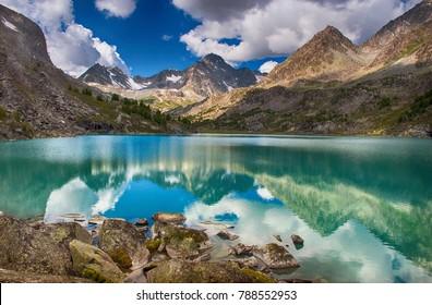 A beautiful landscape, a view of the mountain lake Darashkol, Russia, Siberia, Altai Mountains, Katunsky ridge.
