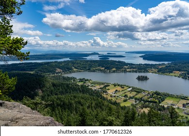 Beautiful landscape view from Mt Erie viewpoint in Skagit County, Washington.