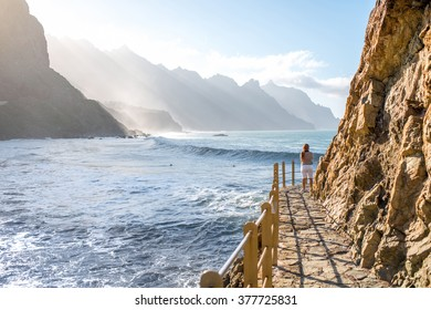 Beautiful landscape view on the beach and rocky coastline near Taganana village in northeastern part of Tenerife island, Spain